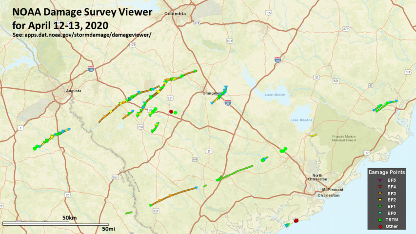 NOAA Damage Survey Viewer for April 12-13, 2020 for the SC-GA area