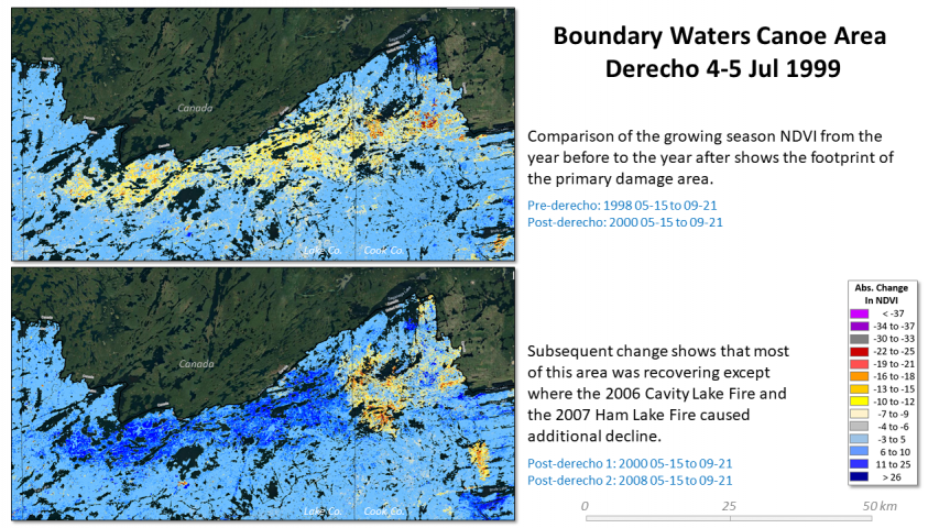 Boundary Waters Canoe Area Derecho severity and recovery patterns