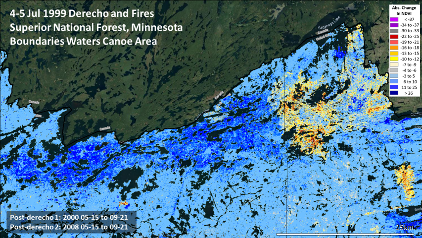 Boundary Waters Canoe Area derecho recovery patterns and fire severity