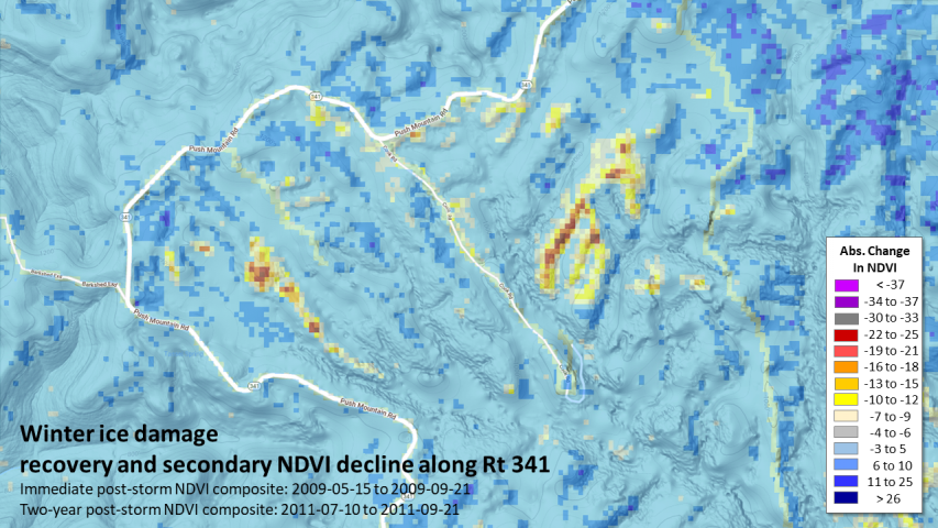 Two-year ice storm recovery and secondary NDVI decline on the Ozark- St Francis National Forest Arkansas